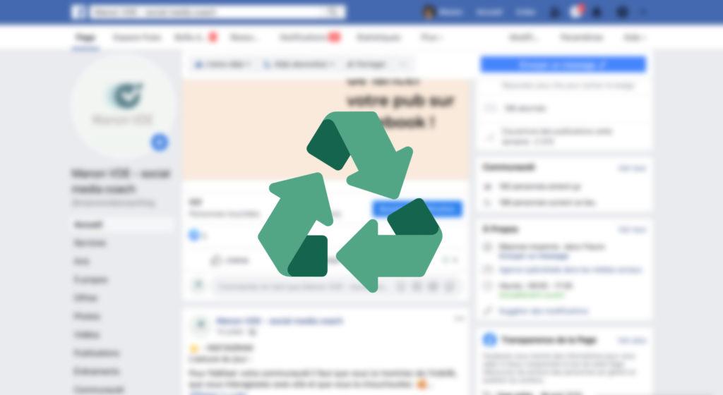Page Facebook avec logo de recyclage